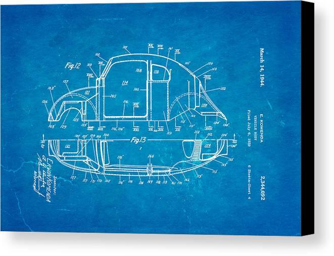 Automotive Canvas Print featuring the photograph Komenda Vw Beetle Body Design Patent Art 3 1944 Blueprint by Ian Monk