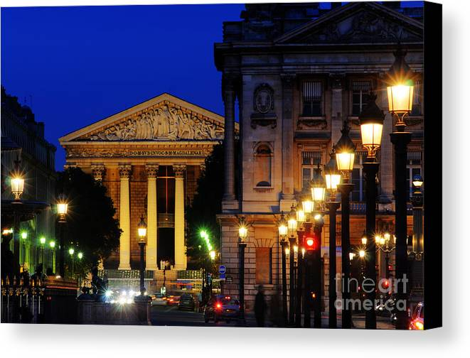 Paris Canvas Print featuring the photograph La Madeleine At Night by Colin Woods