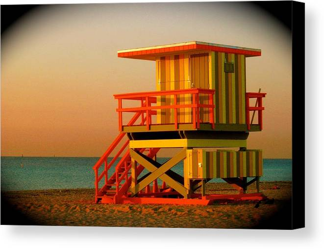 Lifeguard Tower Prints Canvas Print featuring the photograph Lifeguard Tower In Miami Beach by Monique Wegmueller