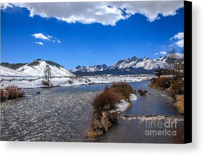Rocky Mountains Canvas Print featuring the photograph Looking Up The Salmon River by Robert Bales