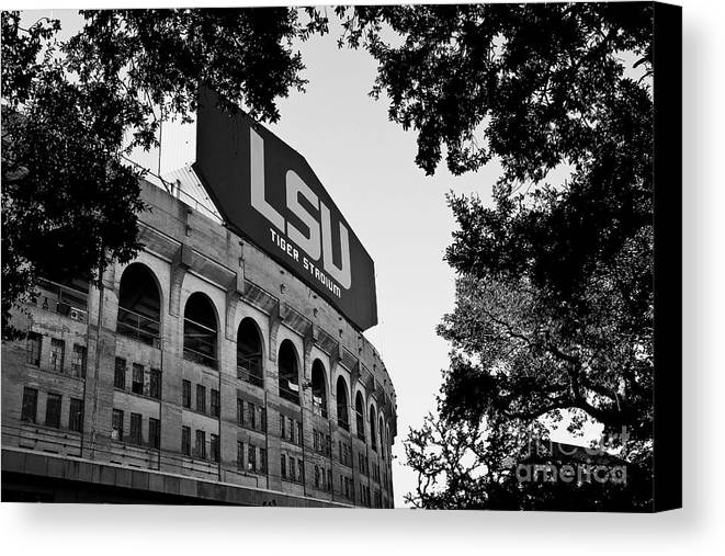 Lsu Canvas Print featuring the photograph Lsu Through The Oaks by Scott Pellegrin