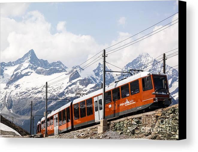 Switzerland Canvas Print featuring the photograph Matterhorn Railway Zermatt Switzerland by Matteo Colombo