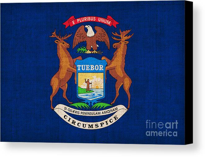 Michigan Canvas Print featuring the painting Michigan State Flag by Pixel Chimp