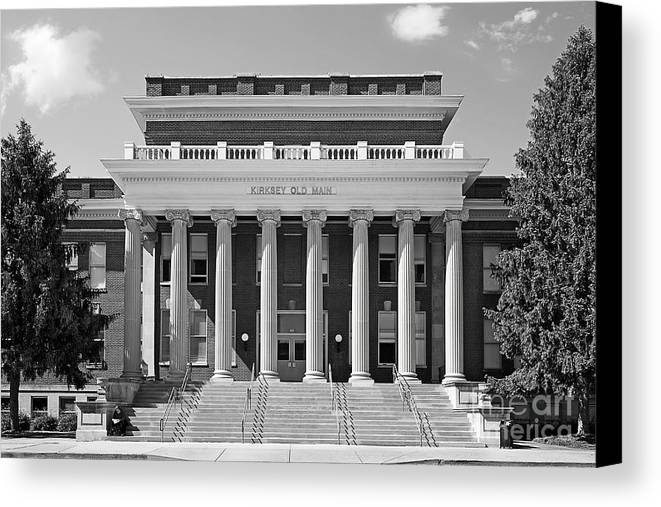 Blue Raiders Canvas Print featuring the photograph Middle Tennessee State Kirksey Old Main by University Icons