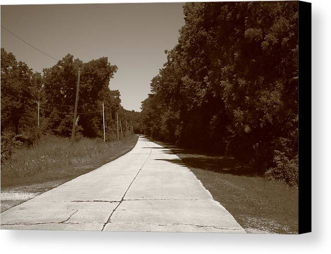 66 Canvas Print featuring the photograph Missouri Route 66 2012 Sepia. by Frank Romeo