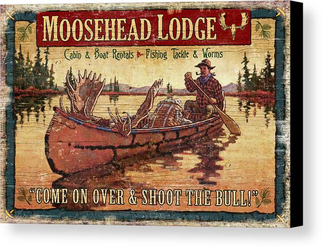 Tin Tanner Canvas Print featuring the painting Moosehead Lodge by JQ Licensing