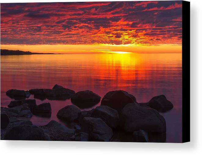morning Glow lake Superior lake Superior North Shore Nature nature Cards Duluth brighton Beach Sunrise Dawn great Lake mary Amerman Canvas Print featuring the photograph Morning Glow by Mary Amerman