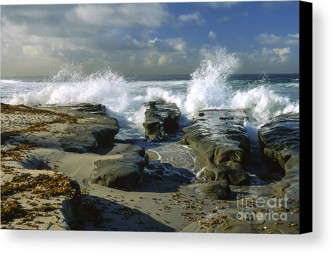 California Canvas Print featuring the photograph Morning Tide In La Jolla by Sandra Bronstein