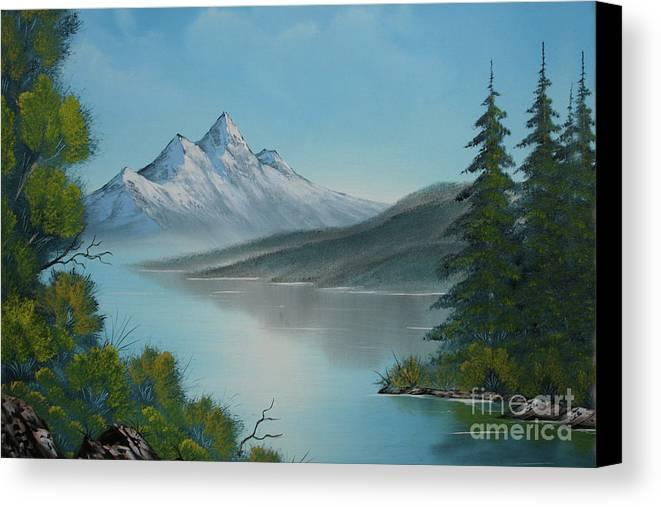 Mountain Lake Canvas Print featuring the painting Mountain Lake Painting A La Bob Ross by Bruno Santoro