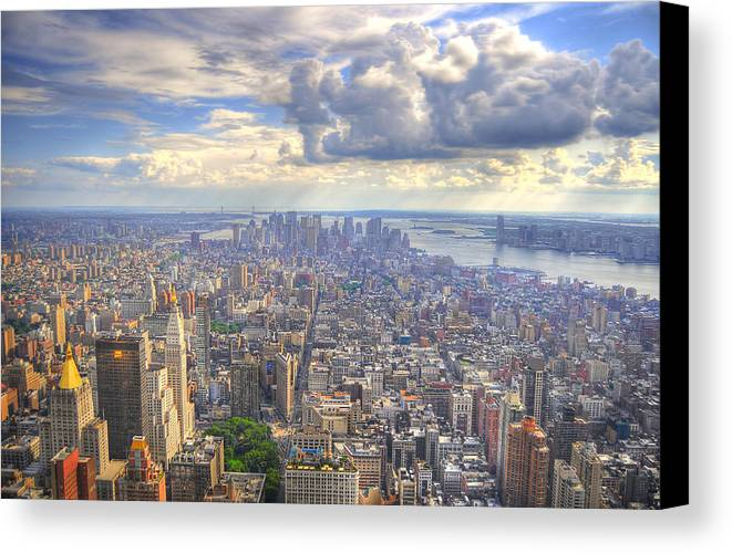 Hdr Canvas Print featuring the photograph New York State Of Mind by Mandy Wiltse