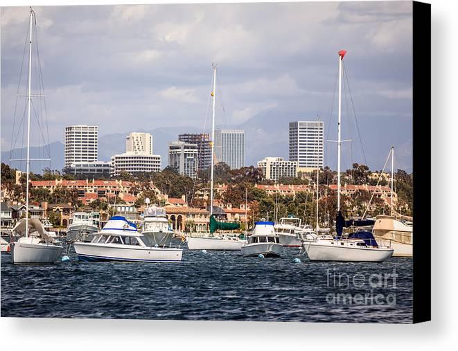 America Canvas Print featuring the photograph Newport Beach Skyline by Paul Velgos