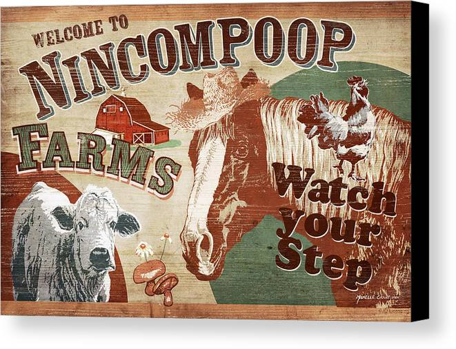 Joe Low Canvas Print featuring the painting Nincompoop Farms by JQ Licensing