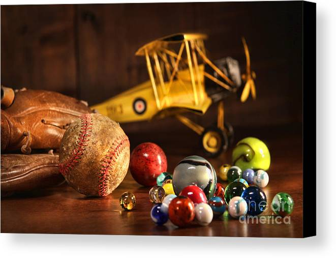 Aged Canvas Print featuring the photograph Old Baseball And Glove With Antique Toys by Sandra Cunningham
