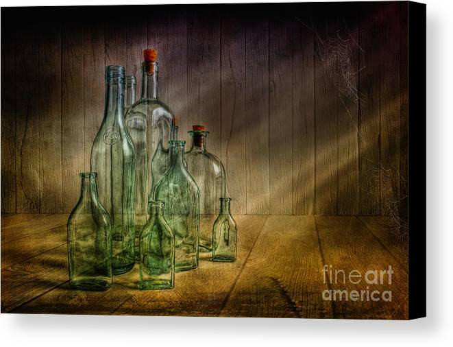 Art Canvas Print featuring the photograph Old Bottles by Veikko Suikkanen