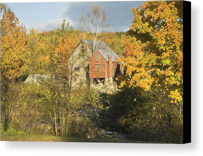 Fall Canvas Print featuring the photograph Old Buildings And Fall Colors In Vienna Maine by Keith Webber Jr