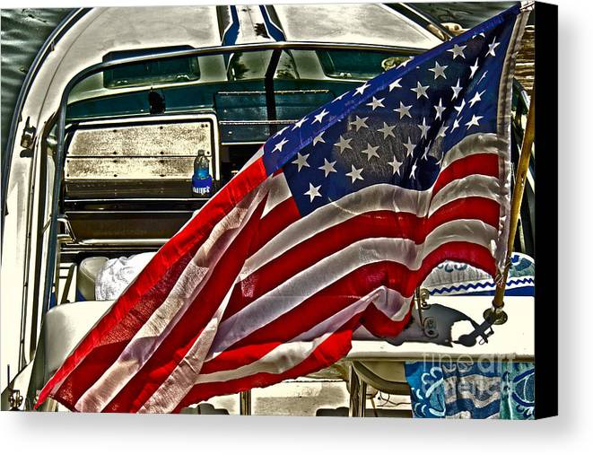 Sky Canvas Print featuring the photograph Old Glory And The Bay by Tom Gari Gallery-Three-Photography
