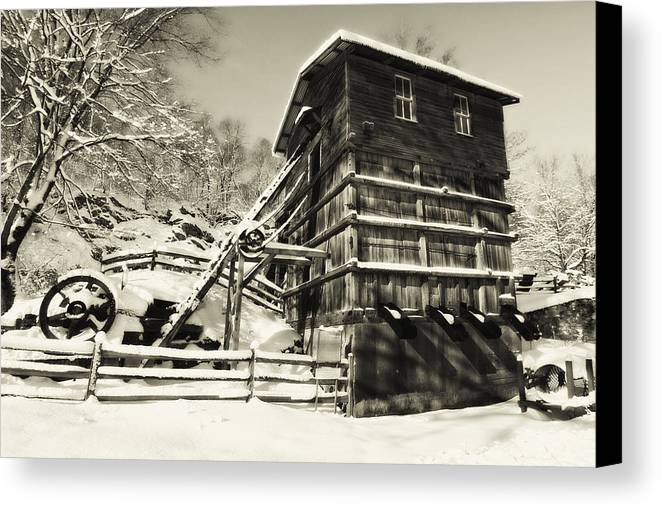 Scenic Canvas Print featuring the photograph Old Snow Covered Quarry Mill by George Oze