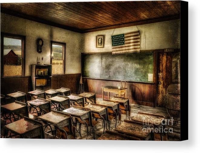 School Canvas Print featuring the photograph One Room School by Lois Bryan