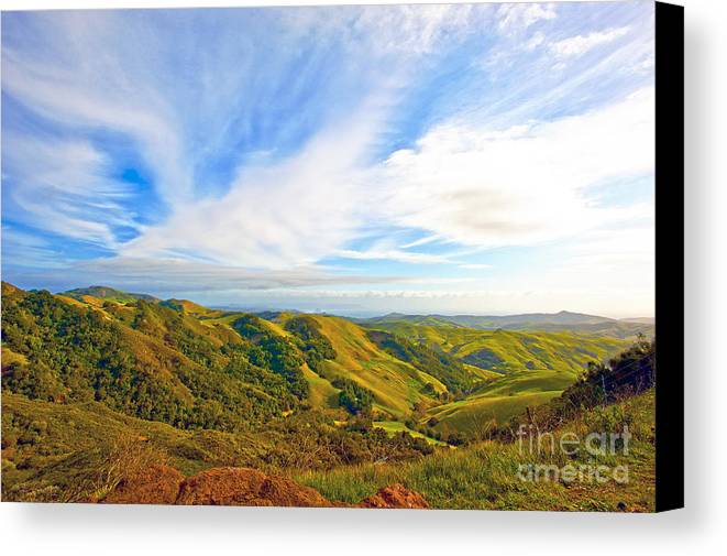 Morro Bay Canvas Print featuring the photograph Overlooking Morro Bay Ca by Artist and Photographer Laura Wrede