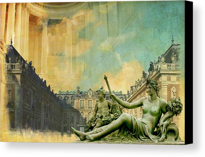 Western Ghats Canvas Print featuring the painting Palace And Park Of Versailles Unesco World Heritage Site by Catf