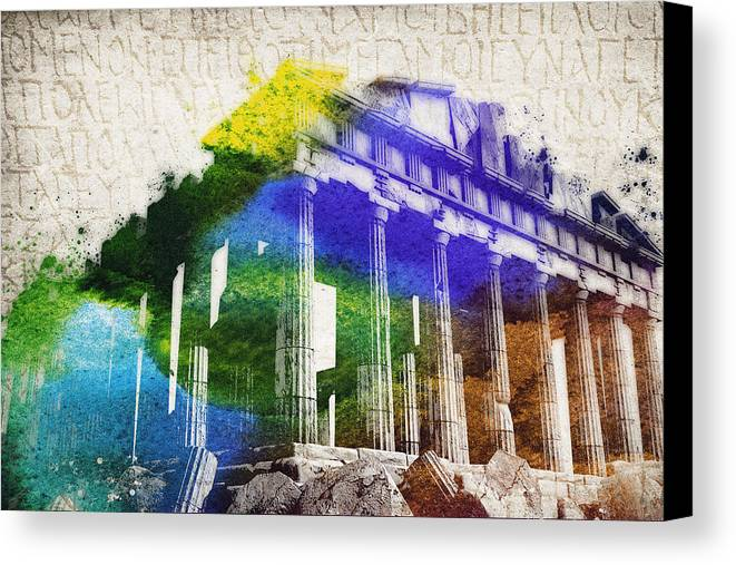 Parthenon Canvas Print featuring the digital art Parthenon by Aged Pixel