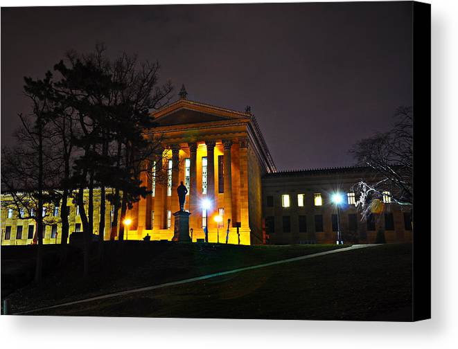 Philadelphia Canvas Print featuring the photograph Philadelphia Art Museum At Night From The Rear by Bill Cannon
