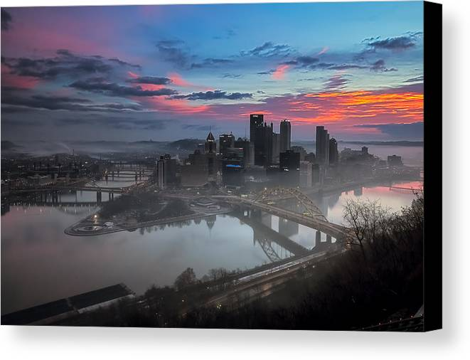 Pittsburgh Canvas Print featuring the photograph Pittsburgh January Thaw by Jennifer Grover