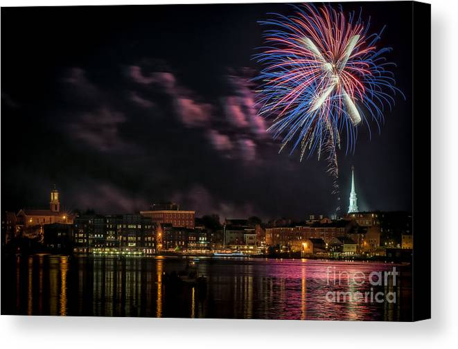 Portsmouth Canvas Print featuring the photograph Portsmouth Nh Fireworks 2013 by Scott Thorp