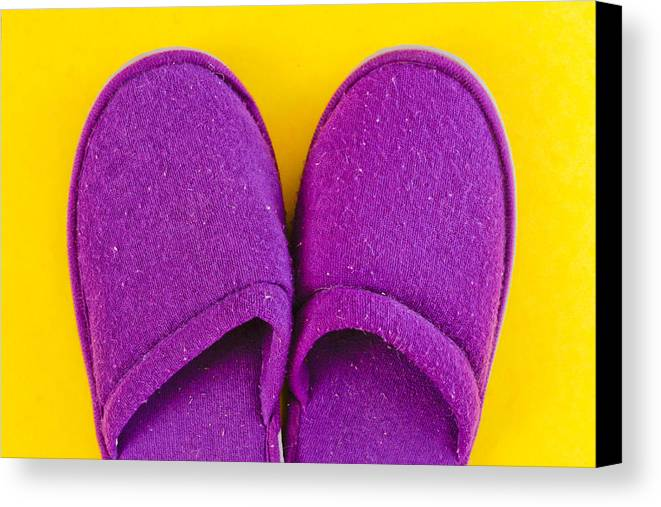 Cosy Canvas Print featuring the photograph Purple Slippers by Tom Gowanlock