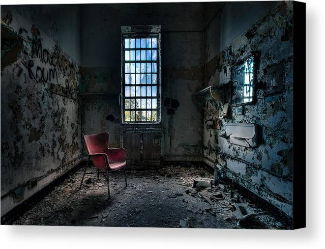 Abandoned Places Canvas Print featuring the photograph Red Chair - Art Deco Decay - Gary Heller by Gary Heller