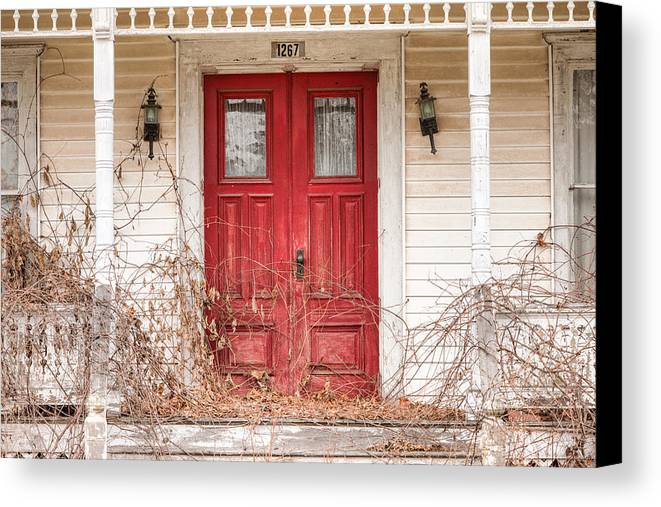 Doors Canvas Print featuring the photograph Red Doors - Charming Old Doors On The Abandoned House by Gary Heller