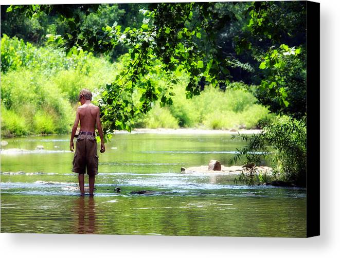 Child Canvas Print featuring the photograph River Walk by Tamara Gentuso
