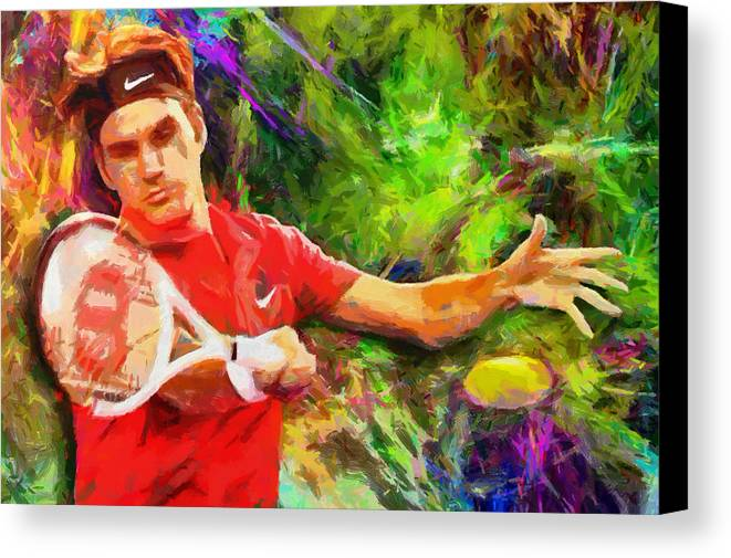 Roger Federer Paintings Canvas Print featuring the digital art Roger Federer by RochVanh