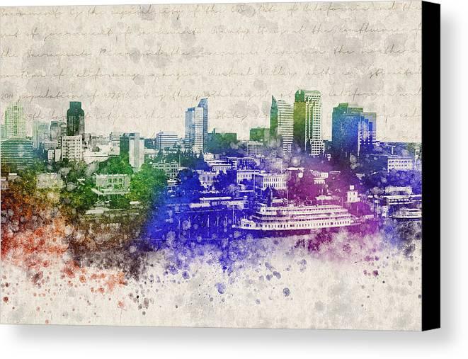 Sacramento Canvas Print featuring the digital art Sacramento City Skyline by Aged Pixel