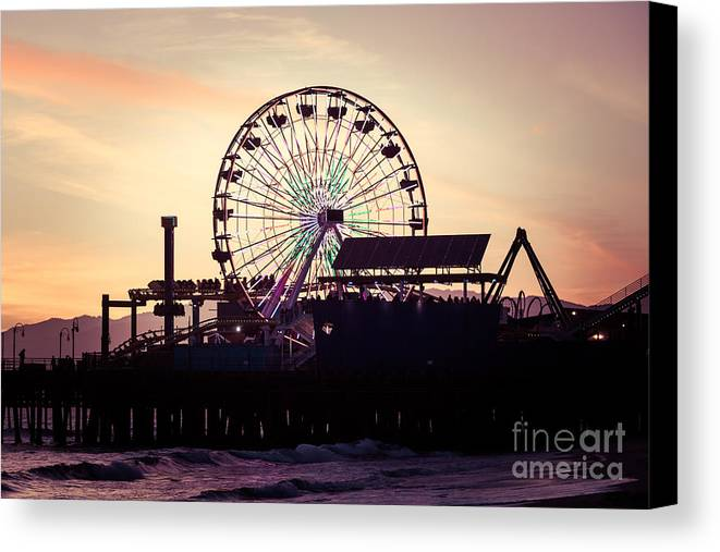 America Canvas Print featuring the photograph Santa Monica Pier Ferris Wheel Retro Photo by Paul Velgos