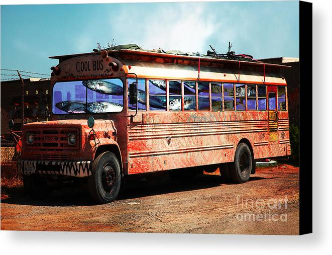Wingsdomain Canvas Print featuring the photograph School Bus 5d24927 by Wingsdomain Art and Photography