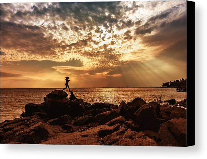 shine On Me chasing Light child In Landscape Children Light Silhouette lake Superior north Shore brighton Beach rock Scrambling Sunset sun Rays Rays Girl capture Minnesota greeting Cards mary Amerman Canvas Print featuring the photograph Shine On Me by Mary Amerman