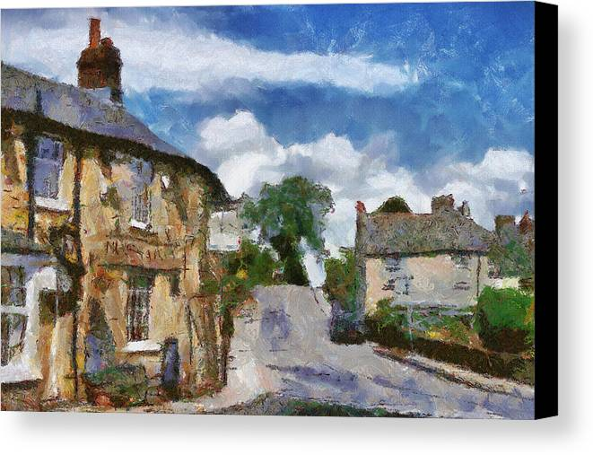 Street Canvas Print featuring the painting Small Town Street by Ayse Deniz