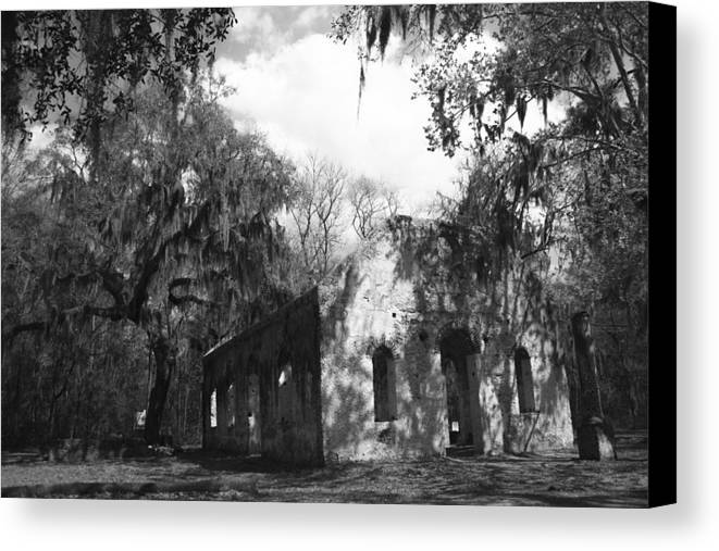 Chapel Of Ease Canvas Print featuring the photograph St Helena Chapel Of Ease Bw 2 by Steven Taylor