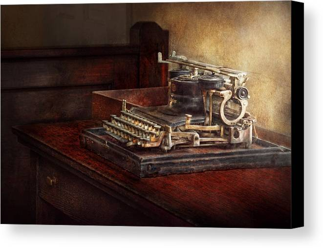 Steampunk Canvas Print featuring the photograph Steampunk - A Crusty Old Typewriter by Mike Savad