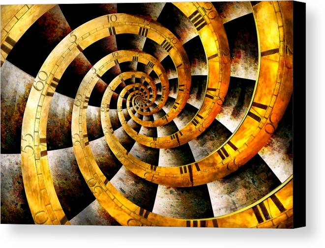 Steampunk Canvas Print featuring the photograph Steampunk - Clock - The Flow Of Time by Mike Savad