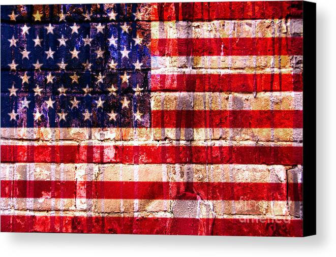 American Flag Canvas Print featuring the digital art Street Star Spangled Banner by Delphimages Photo Creations