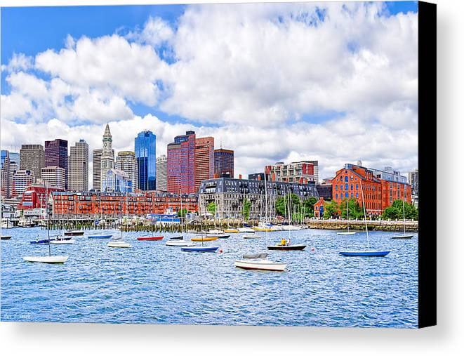Boston Harbor Canvas Print featuring the photograph Sunny Afternoon On Boston Harbor by Mark E Tisdale