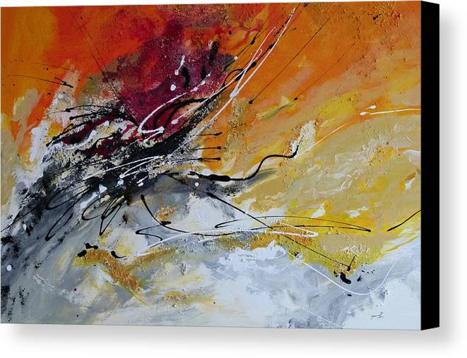 Sunrise Canvas Print featuring the painting Sunrise - Abstract Art by Ismeta Gruenwald