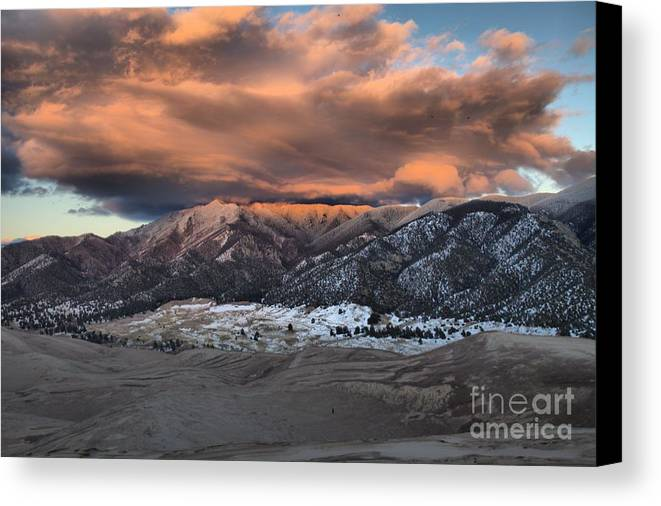 Great Sand Dunes National Park Canvas Print featuring the photograph Sunset Over The Dunes by Adam Jewell