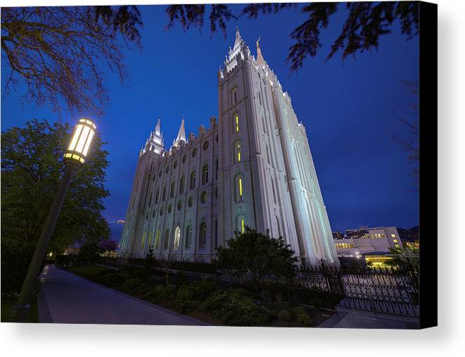 Mormon Canvas Print featuring the photograph Temple Perspective by Chad Dutson