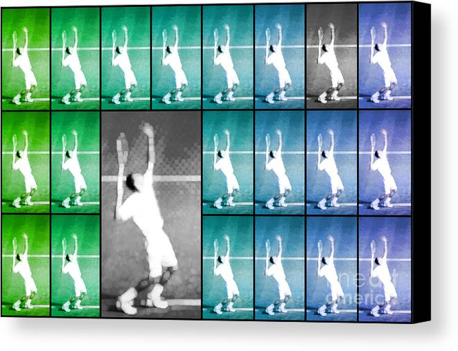 Tennis Canvas Print featuring the photograph Tennis Serve Mosaic Abstract by Natalie Kinnear