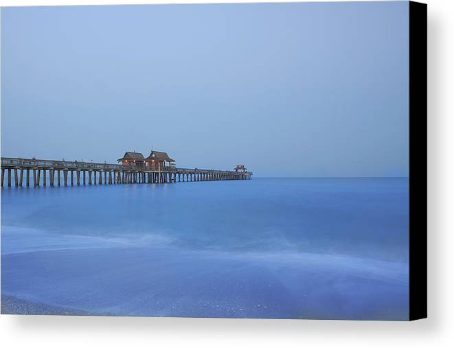 Pier Canvas Print featuring the photograph The Blue Hour by Kim Hojnacki