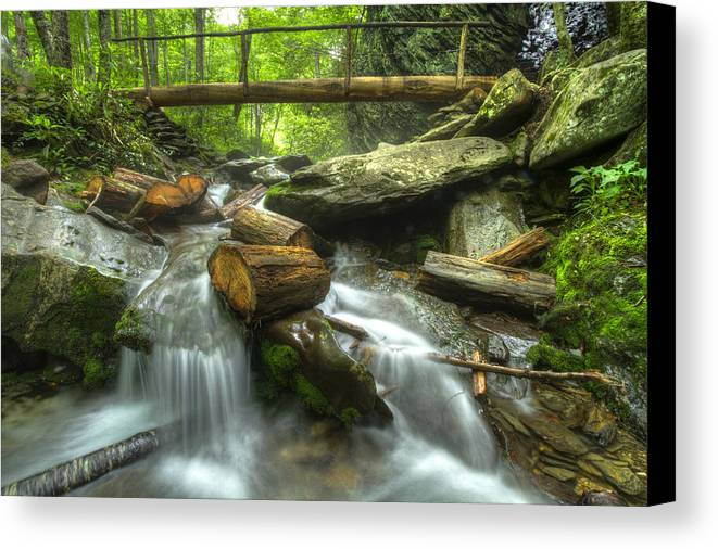 Appalachia Canvas Print featuring the photograph The Bridge At Alum Cave by Debra and Dave Vanderlaan