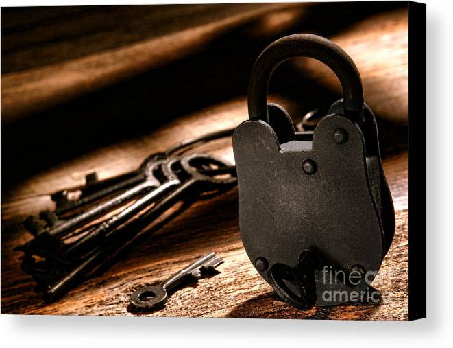 Lock Canvas Print featuring the photograph The Jailer Lock by Olivier Le Queinec